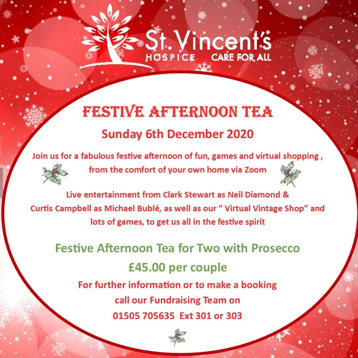 St. Vincent's Hospice Virtual Festive Afternoon Tea